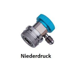 KFZ Schnellkupplung / Adapter R134a mit Absperrhahn Niederdruck (blau)