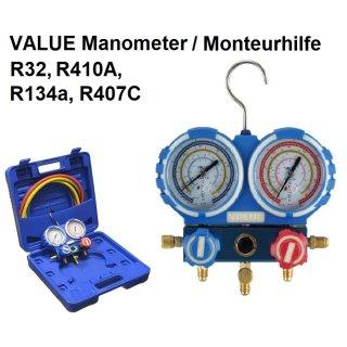 VALUE VMG-2-R32, 2-Wege Manometer/Monteurhilfe R32, R410A, R134a, R407c inkl. 3er Set Füllschläuche