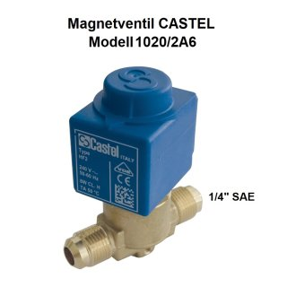 """Magnetventil CASTEL 1020/2A6 1/4"""" SAE Bördel inkl. Spule"""