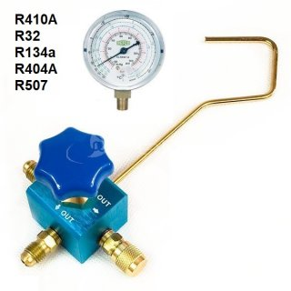 Manometer Einzelblock mit/ohne Refco Manometer erhältlich R32, R410A, R134a