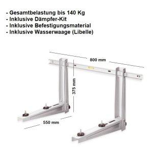 Wandkonsole MS257, Konsole für Splitklimaanlagen 800x550 bis 140 Kg