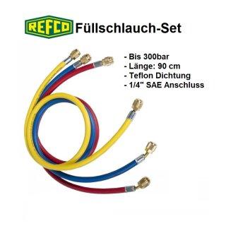 "Refco High Quality Kältemittelschlauch, Füllschlauch-Set 1/4"" SAE Länge: 90 cm"