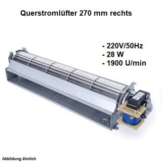 Querstromlüfter, Radiallüfter 270 mm Rechts 220V/50Hz