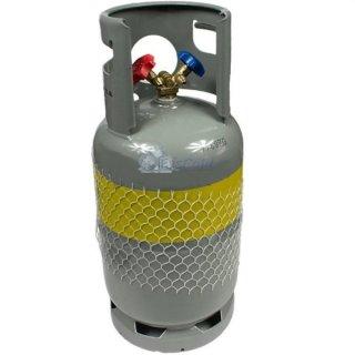 Kältemittelflasche, Recyclingflasche 12,5L mit Doppelventil 1/4 SAE