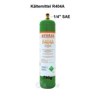 """Kältemittel R404A Mehrwegflasche 790g Füllmenge Anschluss 1/4"""" SAE"""