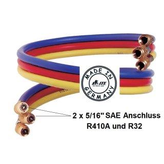 "ITE Profi Kältemittelschlauch, Füllschlauch-Set 2 x 5/16"" SAE + 1 x 1/4"" SAE 150 cm"