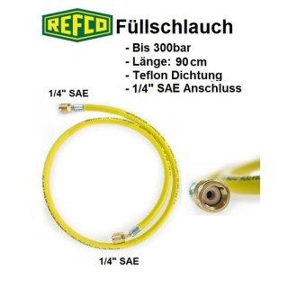 """Refco High Quality Kältemittelschlauch, Füllschlauch 1/4"""" SAE 90 cm, gelb"""