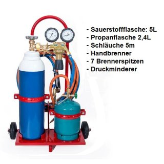 Hartlötgerät Löt-Set Sauerstoff und Propan inkl. Zubehör