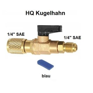 "HQ Kugelventil, Serviceventil, Kugelhahn  1/4"" x 1/4"" SAE blau"