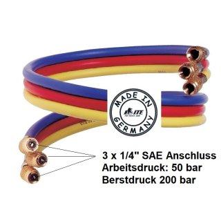ITE Profi Kältemittelschlauch Füllschlauch-Set 1/4 SAE Länge: 300 cm