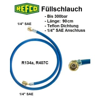 "Refco High Quality Kältemittelschlauch, Füllschlauch 1/4"" SAE 90 cm, blau"